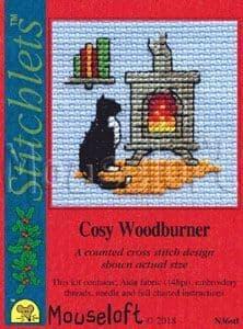 Mouseloft Cosy Woodburner Card Christmas Stitchlets cross stitch kit